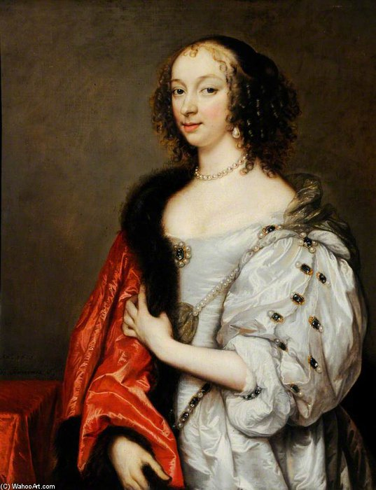 Portrait Of A Lady by Adriaen Hanneman (1603-1671, Netherlands)