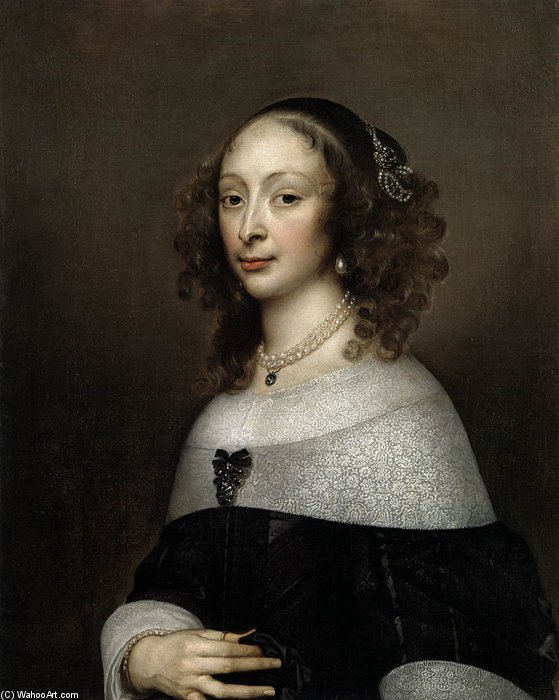 Portrait Of A Woman by Adriaen Hanneman (1603-1671, Netherlands)