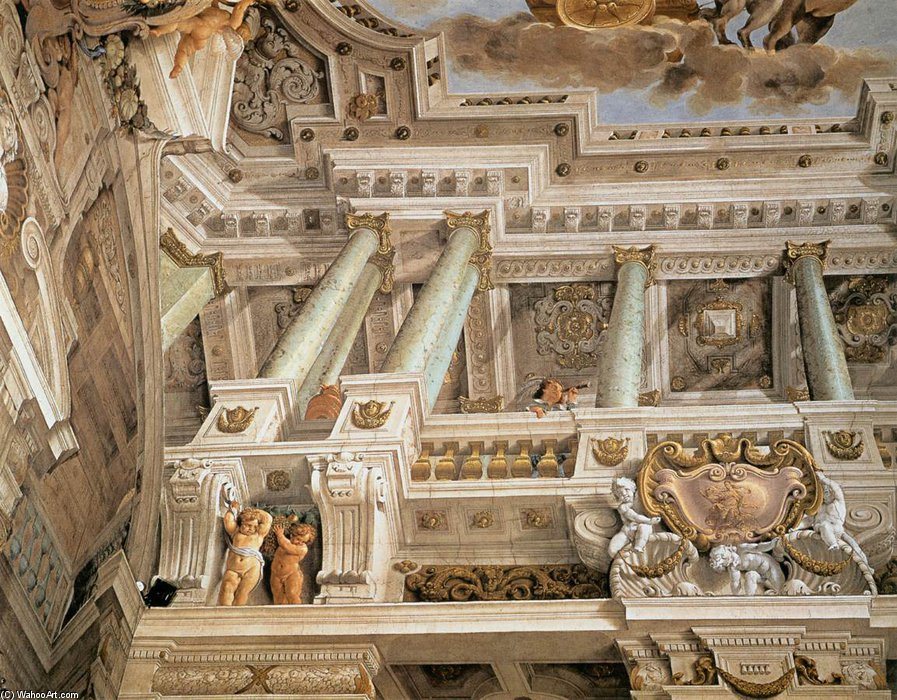 Buy Museum Art Reproductions | Ceiling Fresco by Agostino Mitelli (1609-1660, Italy) | ArtsDot.com