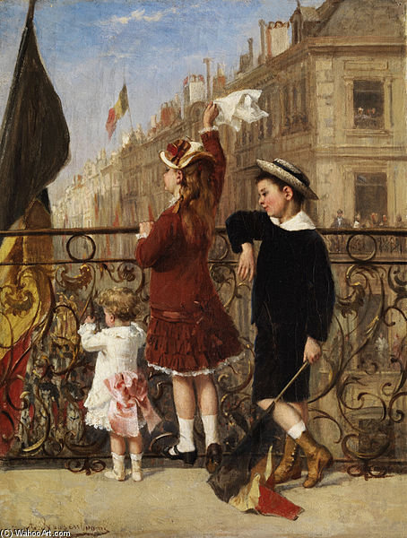 Children Waving At A Festival In The City by Albert Roosenboom (1845-1875, Belgium)