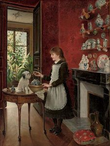 Albert Roosenboom - Young Girl With Her Dog