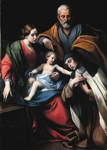 Alessandro Tiarini - The Holy Family With Saint Teresa Of Avila