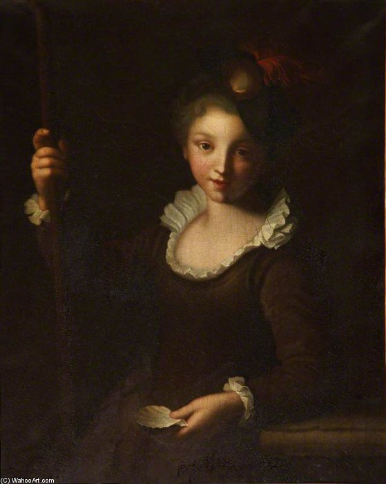 Young Pilgrim Girl, Oil On Canvas by Alexis Grimou (1678-1733, [1] France)
