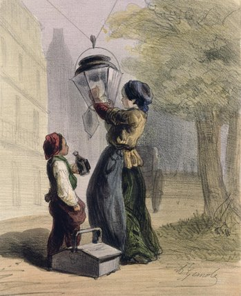 The Lamplighter by Alfred Andre Geniole (1813-1861) | Museum Quality Reproductions | ArtsDot.com