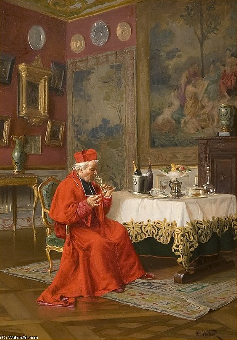 Cardinals Drinking Champagne by Alfred Charles Weber (1862-1922, France)