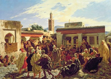 The Moroccan Storyteller by Alfred Dehodencq (1822-1882, France) | Museum Quality Reproductions | ArtsDot.com