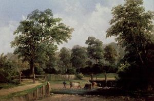 Alfred Gomersal Vickers - Landscape With Cows, 19th..