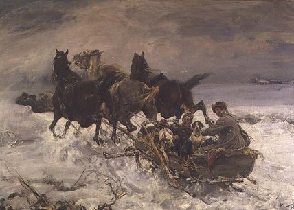 Figures In A Horsedrawn Sleigh by Alfred Wierusz Kowalski (1849-1915, Poland)