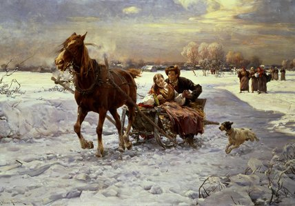 Lovers In A Sleigh by Alfred Wierusz Kowalski (1849-1915, Poland)