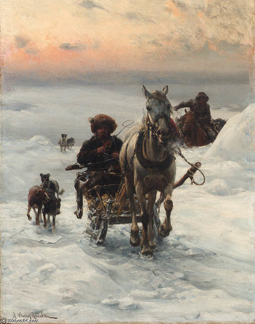 Cossacks Returning Home In The Snow by Alfred Wierusz Kowalski (1849-1915, Poland)