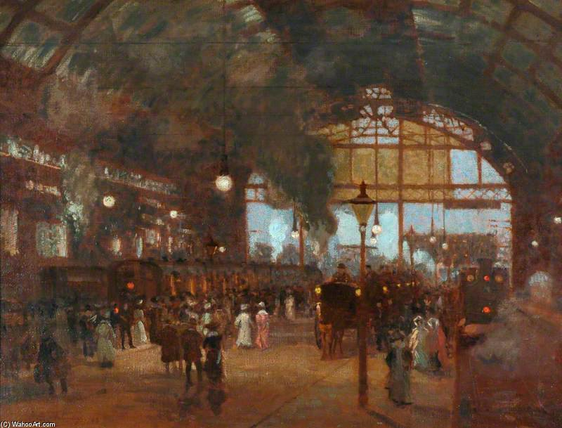 Cannon Street Station by Algernon Talmage (1871-1939, United Kingdom)