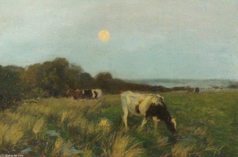 Cattle In Moonlight by Algernon Talmage (1871-1939, United Kingdom)