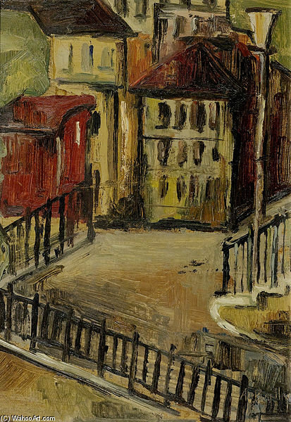 Courtyard by Alice Bailly (1872-1938, Switzerland) | Paintings Reproductions Alice Bailly | ArtsDot.com