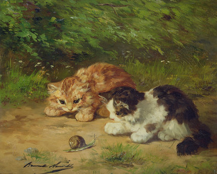 Kittens And Snail by Alphonse Marie Adolphe De Neuville (1836-1885, France)