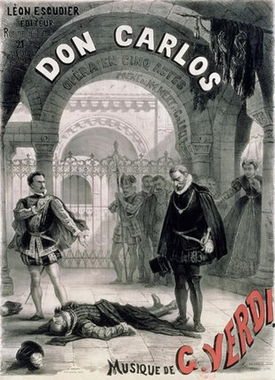 Poster Advertising Don Carlos by Alphonse Marie Adolphe De Neuville (1836-1885, France)