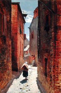 Alphonse Marie Adolphe De Neuv.. - Street In The Old Town