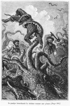 The Octopus Attacking The Nautilus by Alphonse Marie Adolphe De Neuville (1836-1885, France)