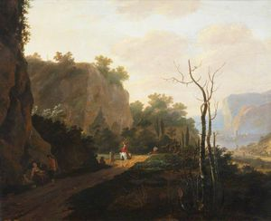 Andries Both - A Rocky Landscape With Figures, Sunset