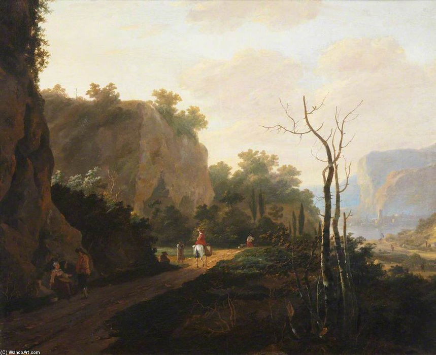 Order Art Reproduction : A Rocky Landscape With Figures, Sunset by Andries Both (1613-1642, Netherlands) | ArtsDot.com