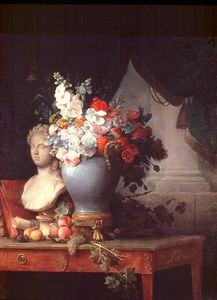 Anne Vallayer Coster - Vase Of Flowers With A Bust Of Flora