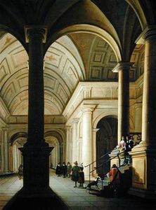 Anthonie De Lorme - Palatial Interior At Night, With An Elegant Couple Making Their Entrance