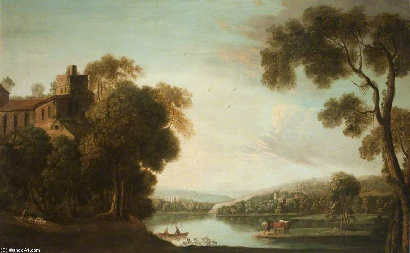 A River Scene With A Mansion Amongst Trees by Anthony Devis (1729-1816, United Kingdom)