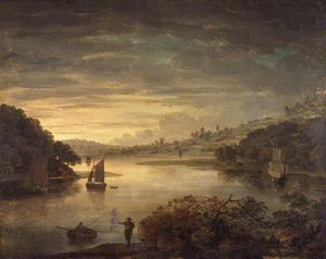 Anthony Devis - A View On The River Neath In G..