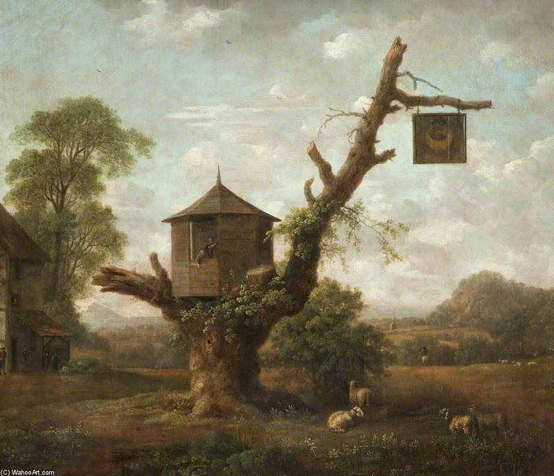 Landscape With A Hut In An Oak Tree And The 'man In The Moon' Inn by Anthony Devis (1729-1816, United Kingdom)