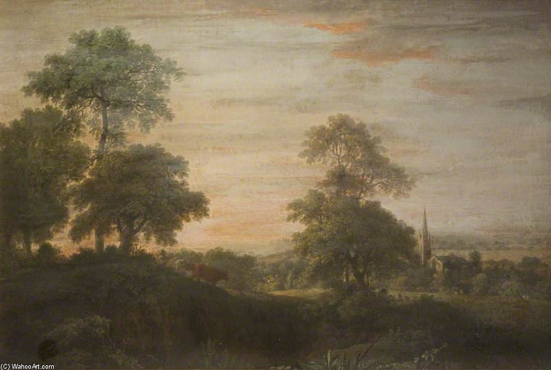 Landscape, Church And Village by Anthony Devis (1729-1816, United Kingdom)