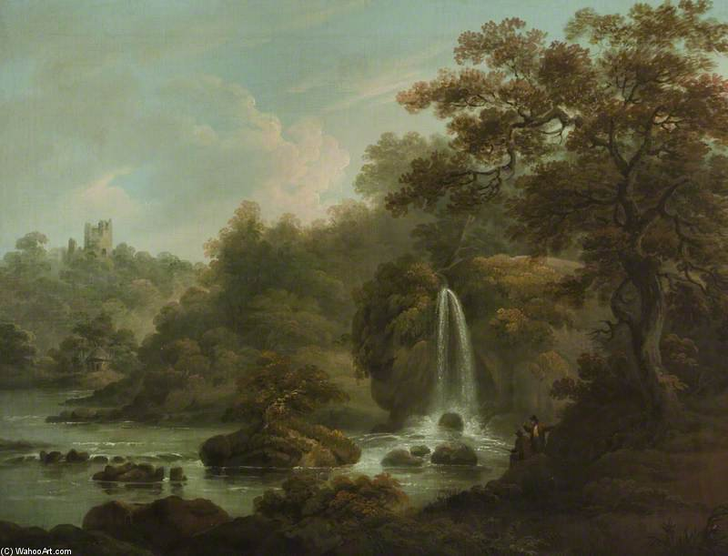 The Weeping Rock – A Waterfall at Hackfall near Ripon, West Riding of Yorkshire by Anthony Devis (1729-1816, United Kingdom)