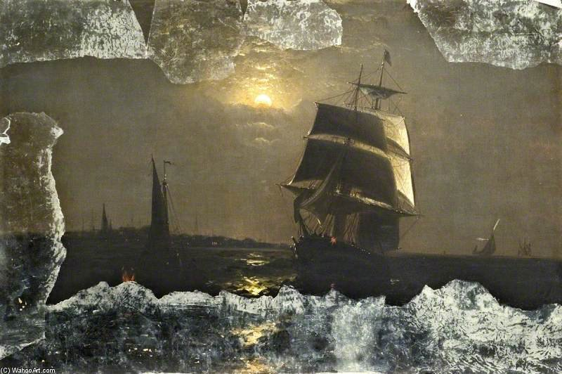 Midnight Off Sheerness by Anton Melbye (Daniel Herman Anton Melbye) (1818-1875) | Museum Art Reproductions | ArtsDot.com