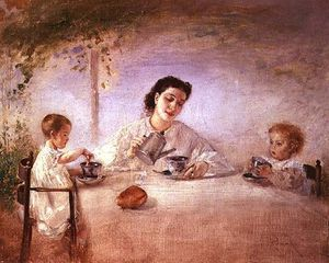Anton Romako - The Artist-s Wife Sophie With Their Daughters