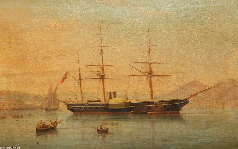Order Art Reproductions | A Paddle Frigate At Anchor Off Naples by Antonio De Simone (1850-1920, Italy) | ArtsDot.com