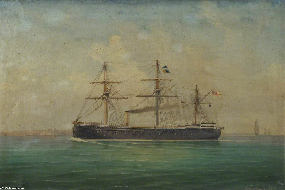 The Frigate Hms `royal Oak` by Antonio De Simone (1850-1920, Italy) | Reproductions Antonio De Simone | ArtsDot.com