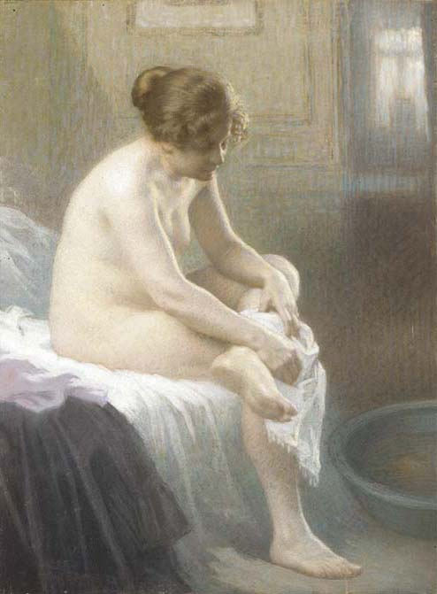 A Woman Wiping by Antony Troncet (1879-1939, France)