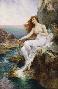 Arthur Augustus Ii Glende.. - A Sea Nymph Seated On A R..