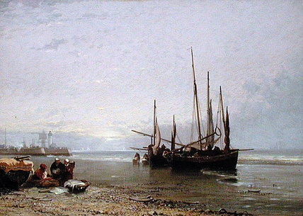 Luggers On The Beach At Treport by Arthur Joseph Meadows