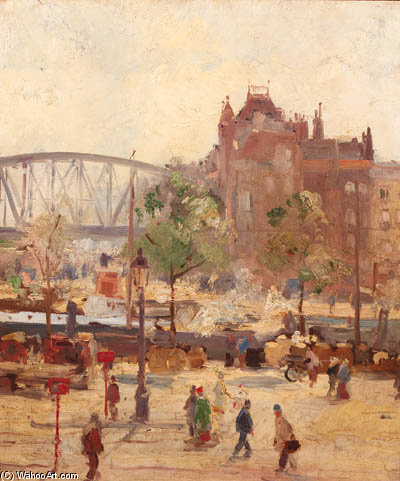 A Busy Quay, Rotterdam by August Willem Van Voorden (1881-1921)