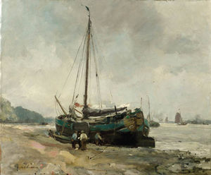 August Willem Van Voorden - A Moored Tjalk On A River..