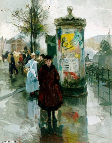 Billboard And Figures At The Four Leeuwenbrug In Rotterdam by August Willem Van Voorden (1881-1921)
