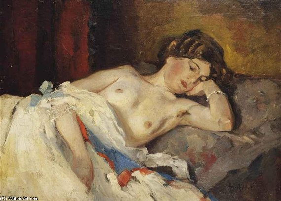 Geertje On A Sofa by August Willem Van Voorden (1881-1921) | Oil Painting | ArtsDot.com