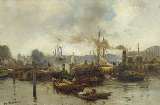 Harbour Activities, Rotterdam by August Willem Van Voorden (1881-1921)