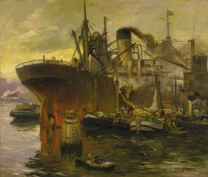 August Willem Van Voorden - Shipping In The Harbour O..
