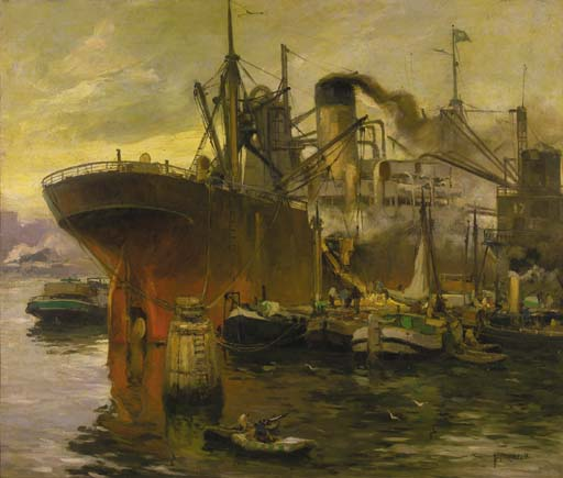 Shipping In The Harbour Of Rotterdam by August Willem Van Voorden (1881-1921)