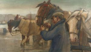 August Willem Van Voorden - Tending To The Horses On ..