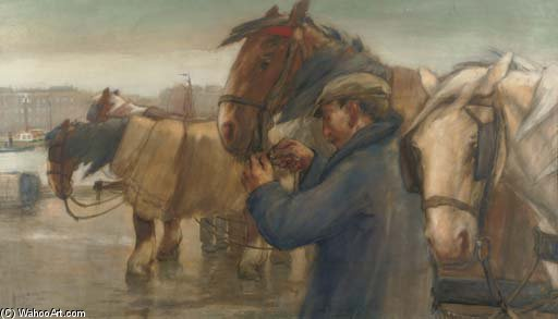 Tending To The Horses On A Rotterdam Quay by August Willem Van Voorden (1881-1921)
