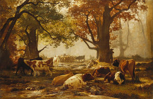 Auguste François Bonheur - Cattle In A Wooded River
