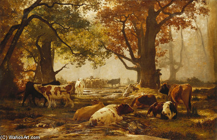 Cattle In A Wooded River by Auguste François Bonheur (1824-1884, France)