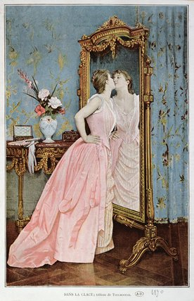 In The Mirror by Auguste Toulmouche (1829-1890, France)