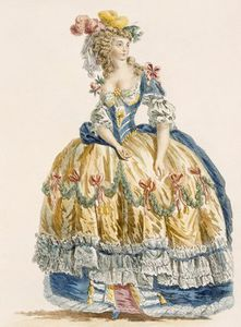 Augustin De Saint Aubin - Lady's Elaborate Ball Gown, En..